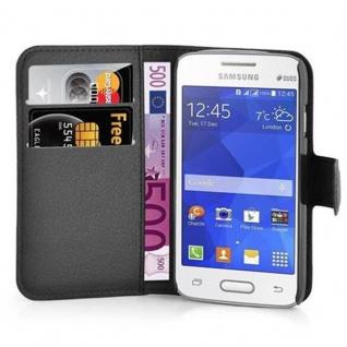 Cadorabo Hülle für Samsung Galaxy ACE 4 LITE in PHANTOM SCHWARZ - Handyhülle mit Magnetverschluss, Standfunktion und Kartenfach - Case Cover Schutzhülle Etui Tasche Book Klapp Style