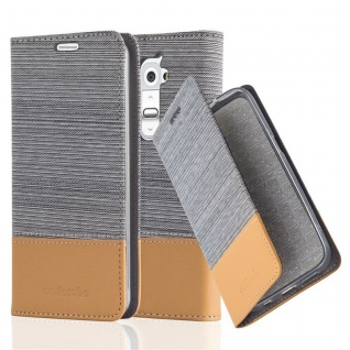 Cadorabo Hülle für LG G2 MINI in HELL GRAU BRAUN - Handyhülle mit Magnetverschluss, Standfunktion und Kartenfach - Case Cover Schutzhülle Etui Tasche Book Klapp Style