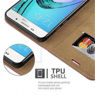 Cadorabo Hülle für Samsung Galaxy A3 2016 (6) - Hülle in PINKY ROT - Handyhülle in Bast-Optik mit Kartenfach und Standfunktion - Case Cover Schutzhülle Etui Tasche Book Klapp Style - Vorschau 3