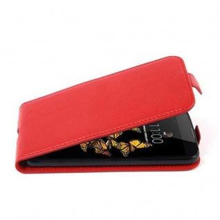 Cadorabo Hülle für LG K8 2016 in INFERNO ROT - Handyhülle im Flip Design aus strukturiertem Kunstleder - Case Cover Schutzhülle Etui Tasche Book Klapp Style