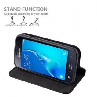 Cadorabo Hülle für Samsung Galaxy J1 MINI 2016 in NACHT SCHWARZ - Handyhülle mit Magnetverschluss, Standfunktion und Kartenfach - Case Cover Schutzhülle Etui Tasche Book Klapp Style - Vorschau 4