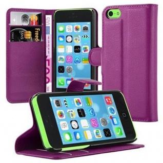 Cadorabo Hülle für Apple iPhone 5C in MANGAN VIOLETT - Handyhülle mit Magnetverschluss, Standfunktion und Kartenfach - Case Cover Schutzhülle Etui Tasche Book Klapp Style