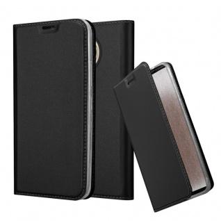 Cadorabo Hülle für Motorola MOTO G5S PLUS in CLASSY SCHWARZ - Handyhülle mit Magnetverschluss, Standfunktion und Kartenfach - Case Cover Schutzhülle Etui Tasche Book Klapp Style