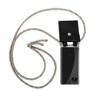 Cadorabo Handy Kette für Google Pixel 4 in RAINBOW - Silikon Necklace Umhänge Hülle mit Silber Ringen, Kordel Band Schnur und abnehmbarem Etui - Schutzhülle