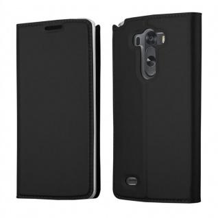 Cadorabo Hülle für LG G3 in CLASSY SCHWARZ - Handyhülle mit Magnetverschluss, Standfunktion und Kartenfach - Case Cover Schutzhülle Etui Tasche Book Klapp Style