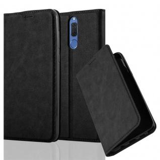 Cadorabo Hülle für Huawei MATE 10 LITE in NACHT SCHWARZ - Handyhülle mit Magnetverschluss, Standfunktion und Kartenfach - Case Cover Schutzhülle Etui Tasche Book Klapp Style