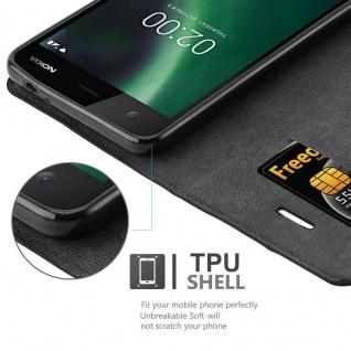 Cadorabo Hülle für Nokia 2 2017 in NACHT SCHWARZ - Handyhülle mit Magnetverschluss, Standfunktion und Kartenfach - Case Cover Schutzhülle Etui Tasche Book Klapp Style - Vorschau 3