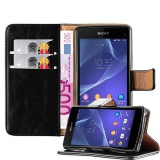 Cadorabo Hülle für Sony Xperia Z1 Compact in GRAPHIT SCHWARZ ? Handyhülle mit Magnetverschluss, Standfunktion und Kartenfach ? Case Cover Schutzhülle Etui Tasche Book Klapp Style