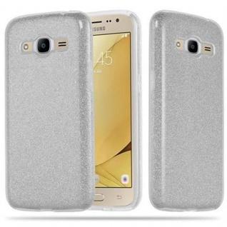 Cadorabo Hülle für Samsung Galaxy J2 2016 - Hülle in STERNENSTAUB SILBER ? TPU Silikon und Hardcase Handyhülle im Glitzer Design - Hard Case TPU Silikon Schutzhülle