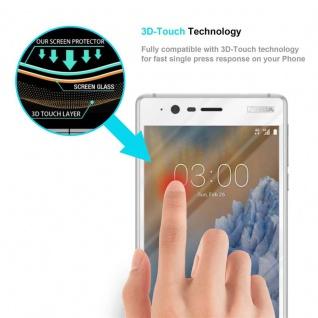 Cadorabo Vollbild Panzer Folie für Nokia 3 2017 - Schutzfolie in TRANSPARENT mit WEISS - Gehärtetes (Tempered) Display-Schutzglas in 9H Härte mit 3D Touch Kompatibilität - Vorschau 5