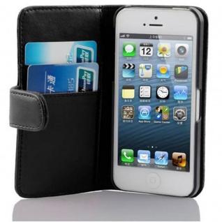 Cadorabo Hülle für Apple iPhone 5 / iPhone 5S / iPhone SE in KAVIAR SCHWARZ ? Handyhülle aus glattem Kunstleder mit Standfunktion und Kartenfach ? Case Cover Schutzhülle Etui Tasche Book Klapp Style
