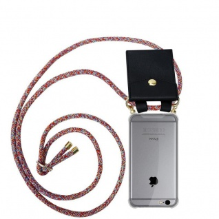 Cadorabo Handy Kette für Apple iPhone 6 PLUS / iPhone 6S PLUS in COLORFUL PARROT Silikon Necklace Umhänge Hülle mit Gold Ringen, Kordel Band Schnur und abnehmbarem Etui Schutzhülle