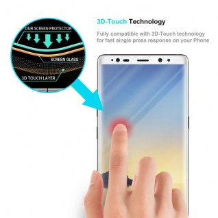 Cadorabo Vollbild Panzer Folie für Samsung Galaxy NOTE 8 - Schutzfolie in TRANSPARENT mit WEISS - Gehärtetes (Tempered) Display-Schutzglas in 9H Härte mit 3D Touch Kompatibilität - Vorschau 5