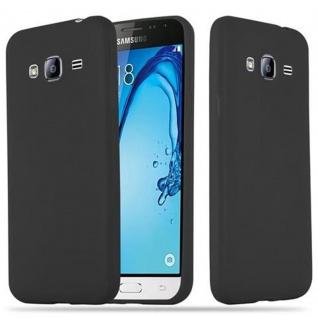 Cadorabo Hülle für Samsung Galaxy J3 2015 in CANDY SCHWARZ - Handyhülle aus flexiblem TPU Silikon - Silikonhülle Schutzhülle Ultra Slim Soft Back Cover Case Bumper