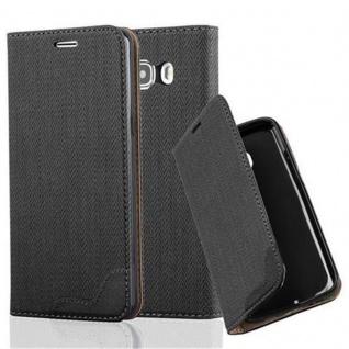 Cadorabo Hülle für Samsung Galaxy J5 2016 (6) - Hülle in EBENHOLZ SCHWARZ - Handyhülle in Bast-Optik mit Kartenfach und Standfunktion - Case Cover Schutzhülle Etui Tasche Book Klapp Style
