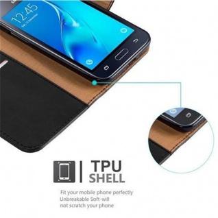 Cadorabo Hülle für Samsung Galaxy J1 2016 in GRAPHIT SCHWARZ - Handyhülle mit Magnetverschluss, Standfunktion und Kartenfach - Case Cover Schutzhülle Etui Tasche Book Klapp Style - Vorschau 4