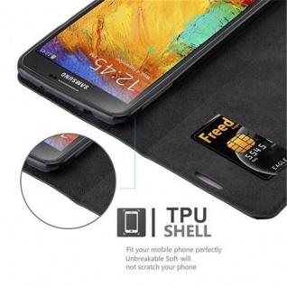 Cadorabo Hülle für Samsung Galaxy NOTE 3 NEO in NACHT SCHWARZ - Handyhülle mit Magnetverschluss, Standfunktion und Kartenfach - Case Cover Schutzhülle Etui Tasche Book Klapp Style - Vorschau 3