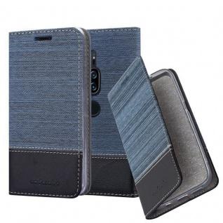 Cadorabo Hülle für Sony Xperia XZ2 PREMIUM in DUNKEL BLAU SCHWARZ - Handyhülle mit Magnetverschluss, Standfunktion und Kartenfach - Case Cover Schutzhülle Etui Tasche Book Klapp Style