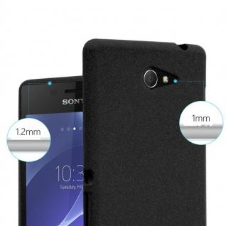 Cadorabo Hülle für Sony Xperia M2 / M2 Aqua in FROST SCHWARZ - Handyhülle aus flexiblem TPU Silikon - Silikonhülle Schutzhülle Ultra Slim Soft Back Cover Case Bumper - Vorschau 5