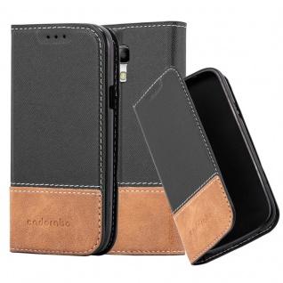 Cadorabo Hülle für Samsung Galaxy S3 MINI in SCHWARZ BRAUN ? Handyhülle mit Magnetverschluss, Standfunktion und Kartenfach ? Case Cover Schutzhülle Etui Tasche Book Klapp Style