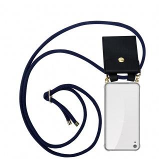 Cadorabo Handy Kette für Sony Xperia E5 in TIEF BLAU - Silikon Necklace Umhänge Hülle mit Gold Ringen, Kordel Band Schnur und abnehmbarem Etui ? Schutzhülle