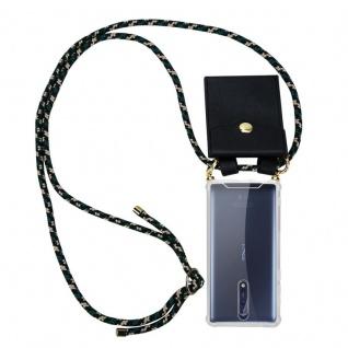 Cadorabo Handy Kette für Nokia 8 2017 in CAMOUFLAGE ? Silikon Necklace Umhänge Hülle mit Gold Ringen, Kordel Band Schnur und abnehmbarem Etui ? Schutzhülle