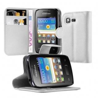Cadorabo Hülle für Samsung Galaxy POCKET 2 in ARKTIS WEIß - Handyhülle mit Magnetverschluss, Standfunktion und Kartenfach - Case Cover Schutzhülle Etui Tasche Book Klapp Style