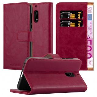 Cadorabo Hülle für Nokia 6 2017 in WEIN ROT ? Handyhülle mit Magnetverschluss, Standfunktion und Kartenfach ? Case Cover Schutzhülle Etui Tasche Book Klapp Style - Vorschau 1