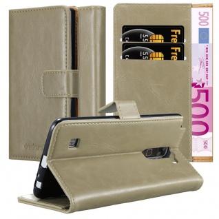 Cadorabo Hülle für LG STYLUS 2 in CAPPUCCINO BRAUN - Handyhülle mit Magnetverschluss, Standfunktion und Kartenfach - Case Cover Schutzhülle Etui Tasche Book Klapp Style