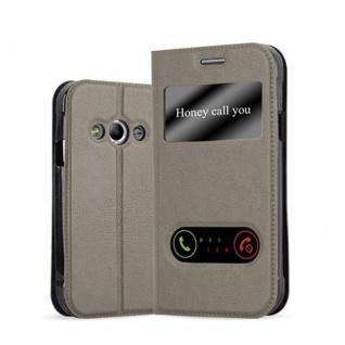 Cadorabo Hülle für Samsung Galaxy XCOVER 3 in STEIN BRAUN - Handyhülle mit Magnetverschluss, Standfunktion und 2 Sichtfenstern - Case Cover Schutzhülle Etui Tasche Book Klapp Style