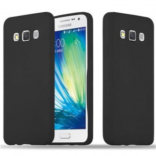 Cadorabo Hülle für Samsung Galaxy A3 2015 in CANDY SCHWARZ - Handyhülle aus flexiblem TPU Silikon - Silikonhülle Schutzhülle Ultra Slim Soft Back Cover Case Bumper