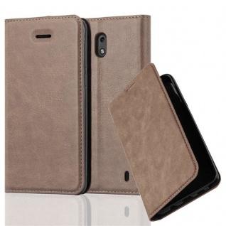 Cadorabo Hülle für Nokia 2 2017 in KAFFEE BRAUN - Handyhülle mit Magnetverschluss, Standfunktion und Kartenfach - Case Cover Schutzhülle Etui Tasche Book Klapp Style