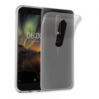Cadorabo Hülle für Nokia 6.1 2018 in VOLL TRANSPARENT - Handyhülle aus flexiblem TPU Silikon - Silikonhülle Schutzhülle Ultra Slim Soft Back Cover Case Bumper