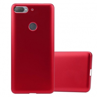 Cadorabo Hülle für HTC Desire 12 PLUS in METALLIC ROT - Handyhülle aus flexiblem TPU Silikon - Silikonhülle Schutzhülle Ultra Slim Soft Back Cover Case Bumper