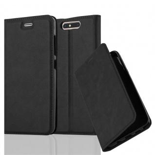 Cadorabo Hülle für ZTE BLADE V8 in NACHT SCHWARZ Handyhülle mit Magnetverschluss, Standfunktion und Kartenfach Case Cover Schutzhülle Etui Tasche Book Klapp Style