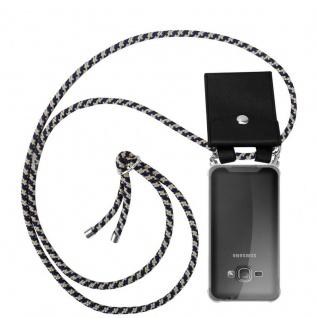 Cadorabo Handy Kette für Samsung Galaxy J1 2016 in DUNKELBLAU GELB - Silikon Necklace Umhänge Hülle mit Silber Ringen, Kordel Band Schnur und abnehmbarem Etui - Schutzhülle