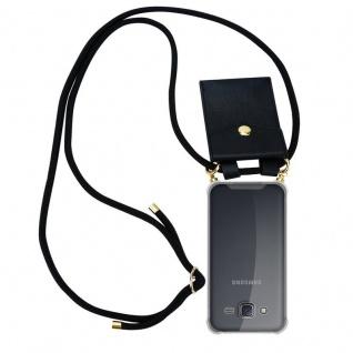 Cadorabo Handy Kette für Samsung Galaxy J5 2015 in SCHWARZ ? Silikon Necklace Umhänge Hülle mit Gold Ringen, Kordel Band Schnur und abnehmbarem Etui ? Schutzhülle - Vorschau 1