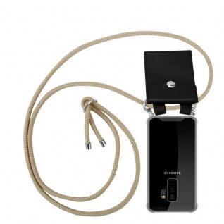 Cadorabo Handy Kette für Samsung Galaxy S9 PLUS in GLÄNZEND BRAUN - Silikon Necklace Umhänge Hülle mit Silber Ringen, Kordel Band Schnur und abnehmbarem Etui - Schutzhülle