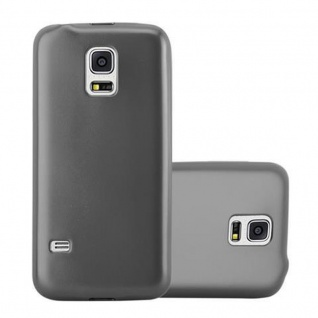 Cadorabo Hülle für Samsung Galaxy S5 MINI / S5 MINI DUOS in METALLIC GRAU - Handyhülle aus flexiblem TPU Silikon - Silikonhülle Schutzhülle Ultra Slim Soft Back Cover Case Bumper