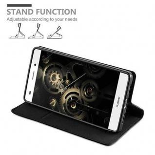 Cadorabo Hülle für Huawei P8 LITE 2015 in NACHT SCHWARZ - Handyhülle mit Magnetverschluss, Standfunktion und Kartenfach - Case Cover Schutzhülle Etui Tasche Book Klapp Style - Vorschau 4