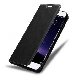 Cadorabo Hülle für MEIZU MX6 in NACHT SCHWARZ Handyhülle mit Magnetverschluss, Standfunktion und Kartenfach Case Cover Schutzhülle Etui Tasche Book Klapp Style