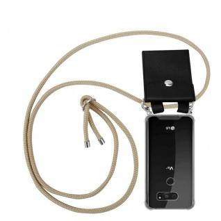 Cadorabo Handy Kette für LG V30 in GLÄNZEND BRAUN - Silikon Necklace Umhänge Hülle mit Silber Ringen, Kordel Band Schnur und abnehmbarem Etui - Schutzhülle