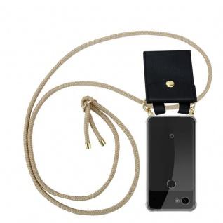 Cadorabo Handy Kette für Google Pixel 3a XL in GLÄNZEND BRAUN Silikon Necklace Umhänge Hülle mit Gold Ringen, Kordel Band Schnur und abnehmbarem Etui Schutzhülle