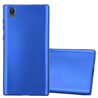 Cadorabo Hülle für Sony Xperia L1 in METALLIC BLAU - Handyhülle aus flexiblem TPU Silikon - Silikonhülle Schutzhülle Ultra Slim Soft Back Cover Case Bumper