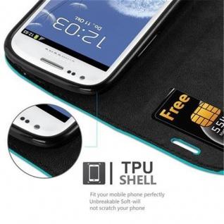 Cadorabo Hülle für Samsung Galaxy S3 MINI in PETROL TÜRKIS - Handyhülle mit Magnetverschluss, Standfunktion und Kartenfach - Case Cover Schutzhülle Etui Tasche Book Klapp Style - Vorschau 3