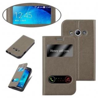 Cadorabo Hülle für Samsung Galaxy XCOVER 3 in STEIN BRAUN ? Handyhülle mit Magnetverschluss, Standfunktion und 2 Sichtfenstern ? Case Cover Schutzhülle Etui Tasche Book Klapp Style - Vorschau 4