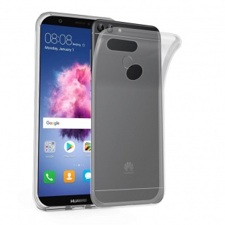 Cadorabo Hülle für Huawei P SMART 2018 / Enjoy 7S in VOLL TRANSPARENT ? Handyhülle aus flexiblem TPU Silikon ? Silikonhülle Schutzhülle Ultra Slim Soft Back Cover Case Bumper
