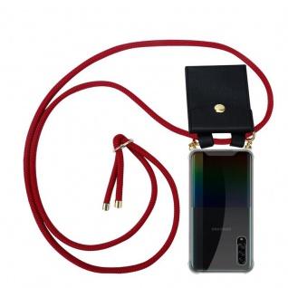 Cadorabo Handy Kette für Samsung Galaxy A90 5G in RUBIN ROT Silikon Necklace Umhänge Hülle mit Gold Ringen, Kordel Band Schnur und abnehmbarem Etui Schutzhülle