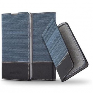 Cadorabo Hülle für Sony Xperia E5 in DUNKEL BLAU SCHWARZ - Handyhülle mit Magnetverschluss, Standfunktion und Kartenfach - Case Cover Schutzhülle Etui Tasche Book Klapp Style