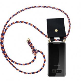 Cadorabo Handy Kette für Samsung Galaxy NOTE 8 in ORANGE BLAU WEISS Silikon Necklace Umhänge Hülle mit Gold Ringen, Kordel Band Schnur und abnehmbarem Etui Schutzhülle